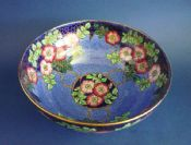 Unusual Maling Pottery Blue Gilded 'Rosine' Large Art Deco Bowl c1937